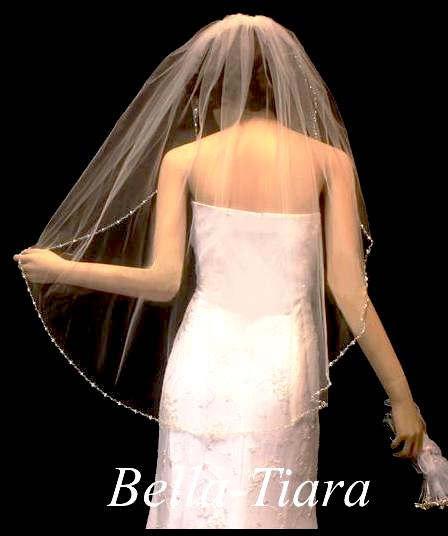 Mariage - beaded edge veil, pearl crystal edge veil, wedding beaded veil, pearl edge veil, beaded wedding veil, veil with crystal, cathedral veils