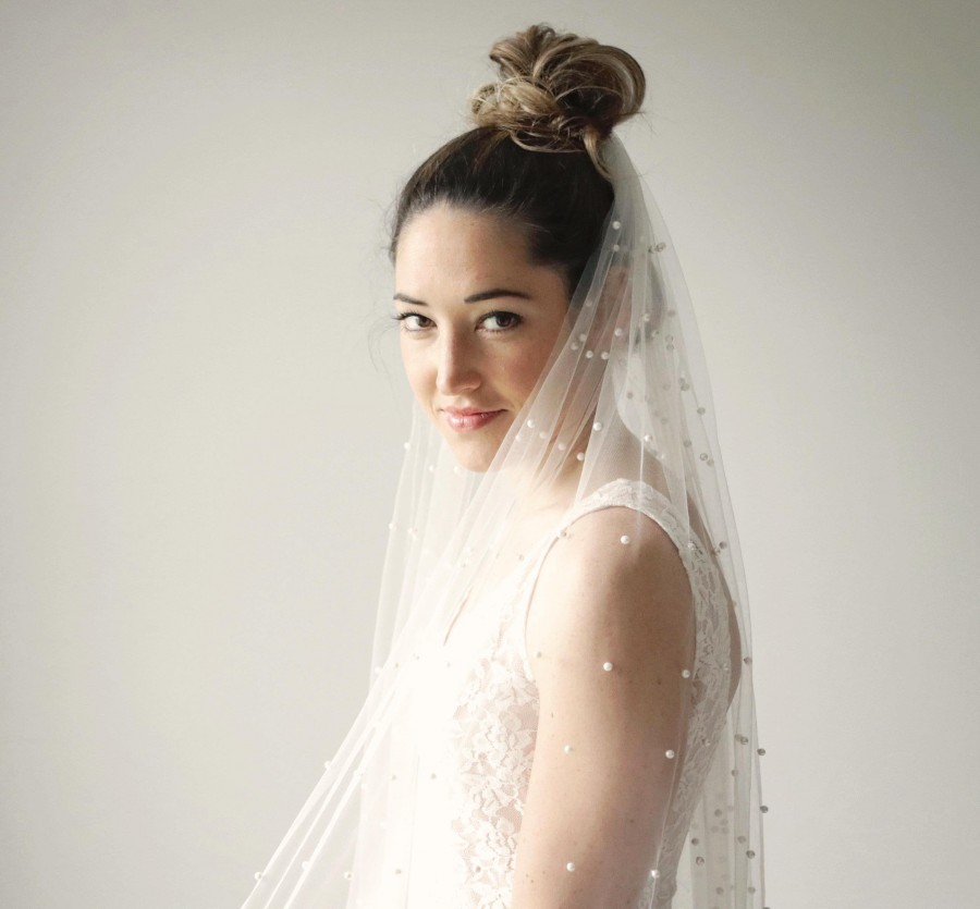 """Mariage - Pearl bridal veil - 30"""" - Pearl bead dotted veil, Tulle with pearl beading, Fingertip veil, White bridal veil, Ivory off white, Single layer"""