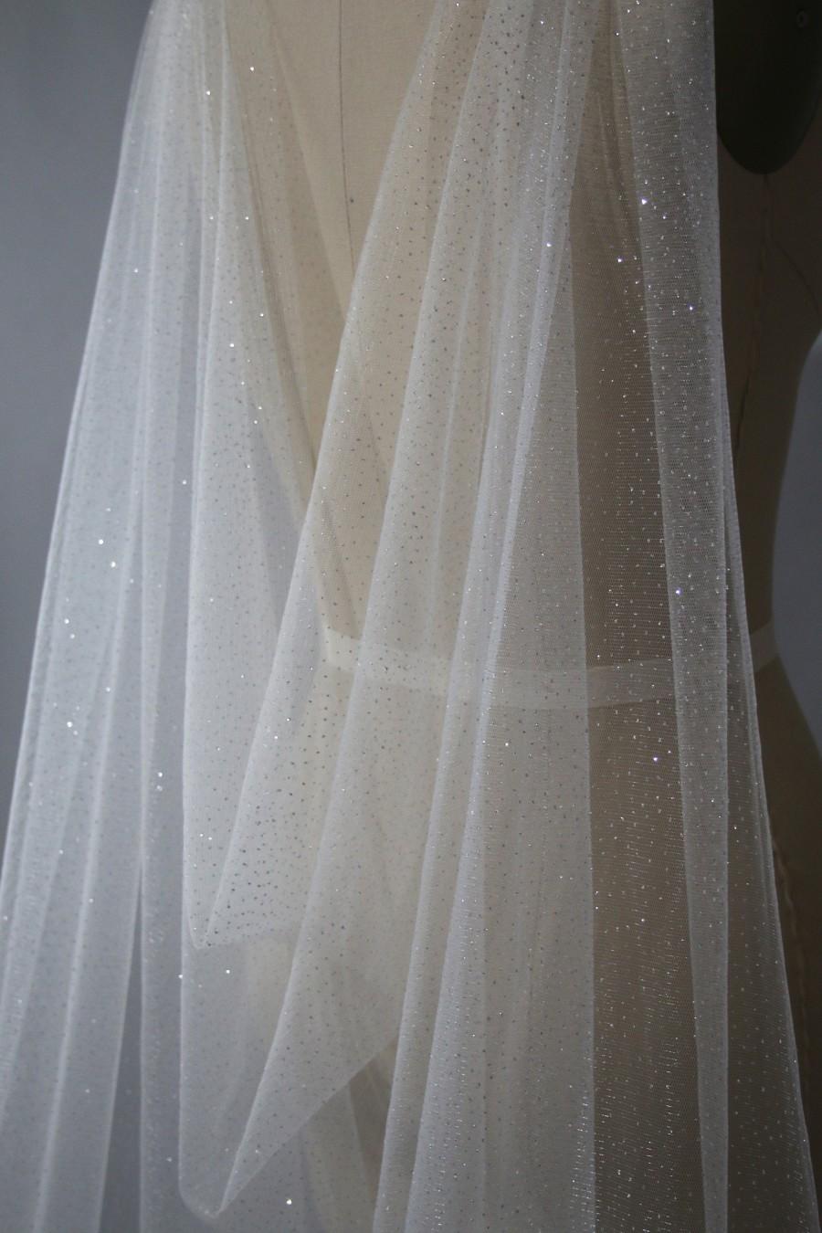 Mariage - KA2, Cape veil, long veil, sparkle veil, glitter veil, shiny veil, cathedral veil, wedding veil, bridal veil, custom veil