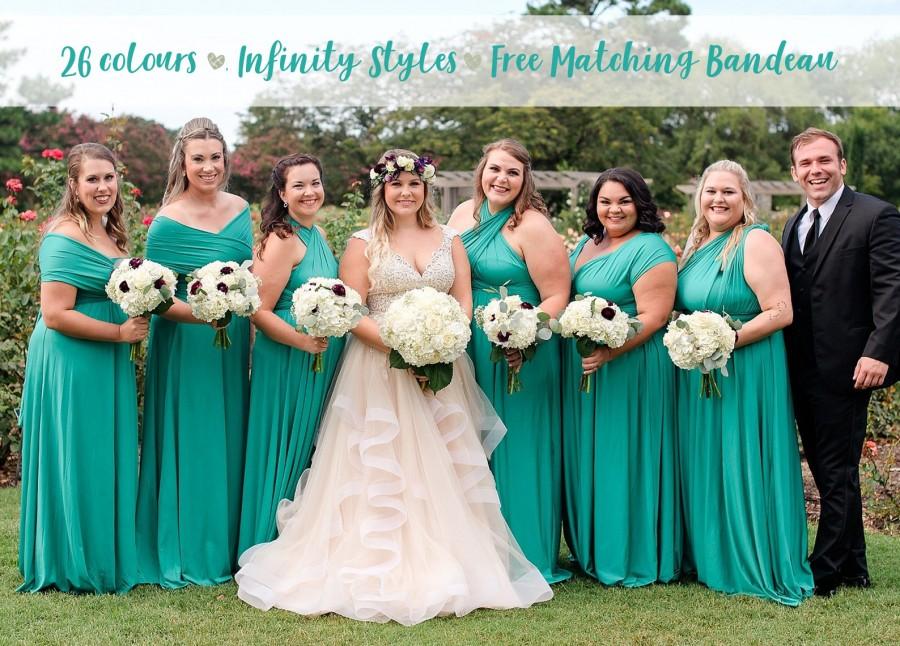 Mariage - Bridesmaid Dress Emerald Green Maxi Floor Length, Infinity Dress, Prom Dress, Multiway Dress, Convertible Dress, Maternity - 26 colors
