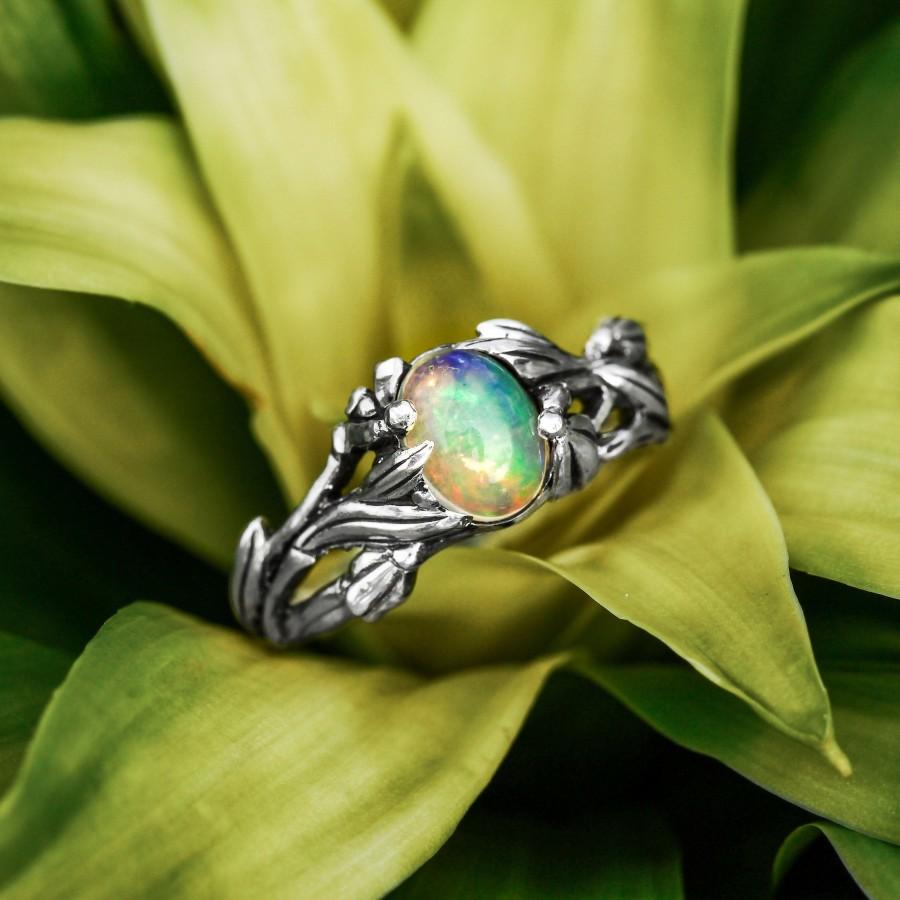 """زفاف - Fire Opal Ring """"Elle"""", fire opal engagement ring for women, Sterling Silver antique women's ring, floral ring, flower silver ring"""