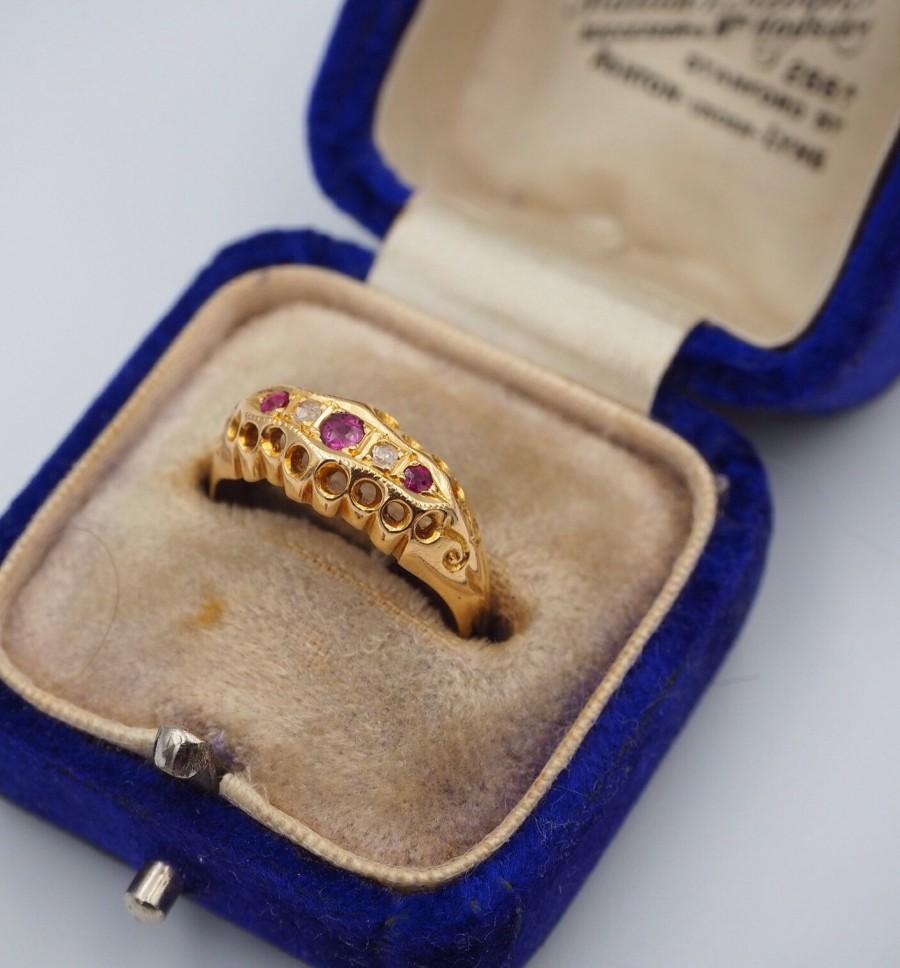 زفاف - Antique 18ct Yellow Gold Diamond and Ruby Ring, Size M or 6.5, Engagement Ring, Antique, Diamond, Ruby, Ruby and Diamond Ring, 18ct Gold