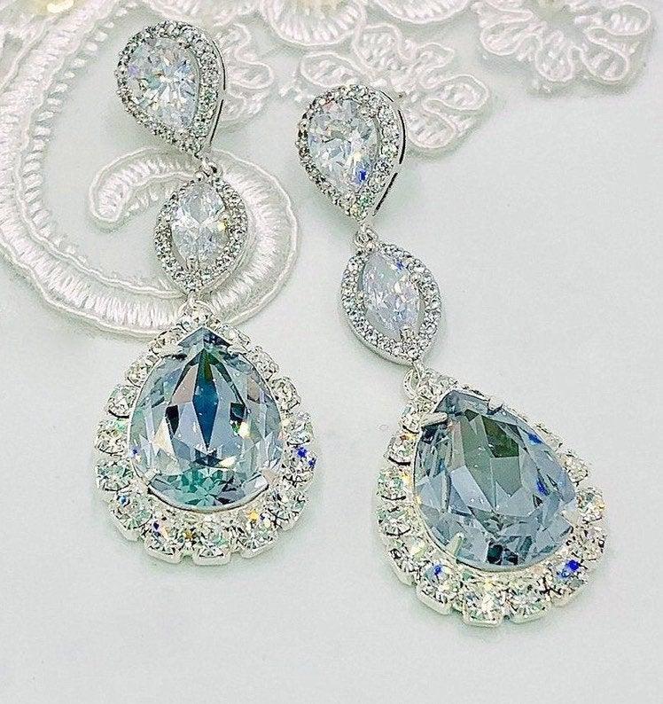 Свадьба - Statement Swarovski Dusty Blue Wedding Jewelry Set,CZ Bridal Earrings,Bracelet,Exquisite All Rhinestones Necklace,Post or Clip On Earrings