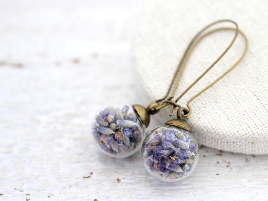 Свадьба - Lavender Earrings, Lavender Drop Earrings, Lavender Jewelry, Purple Flowers Earrings, Real Flowers, Dried Flower Earrings, Terrarium Earring