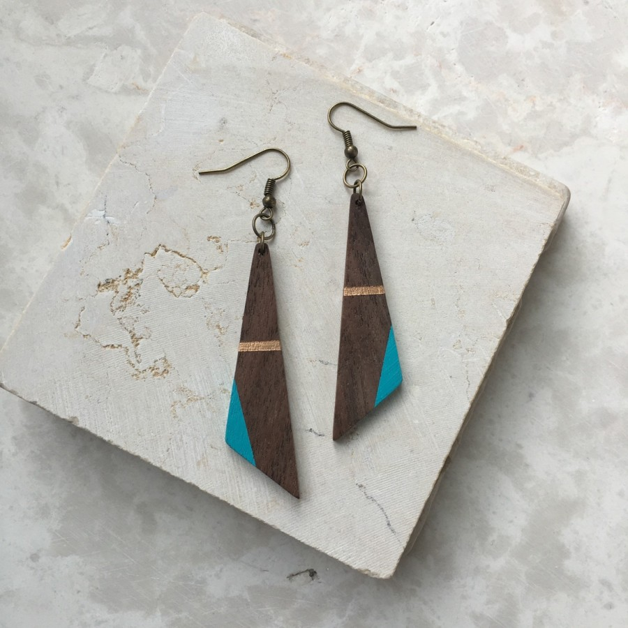 Mariage - Painted Wood Earrings - 5th Anniversary Gift for Her - Wood Jewelry - Wood Dangle Earring - 5th Anniversary Gift for Her - Wood Gift