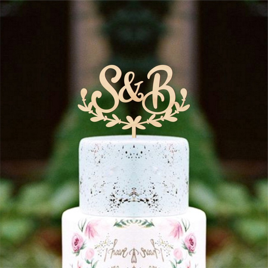 زفاف - Wedding cake topper Initials cake topper Wreath cake topper Custom cake topper Wood Cake Topper