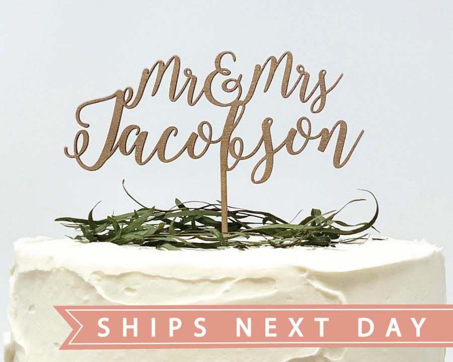 زفاف - Custom Wedding Cake Topper, Custom Calligraphy Mr and Mrs Wedding Cake Topper Gold Personalized Cake Topper