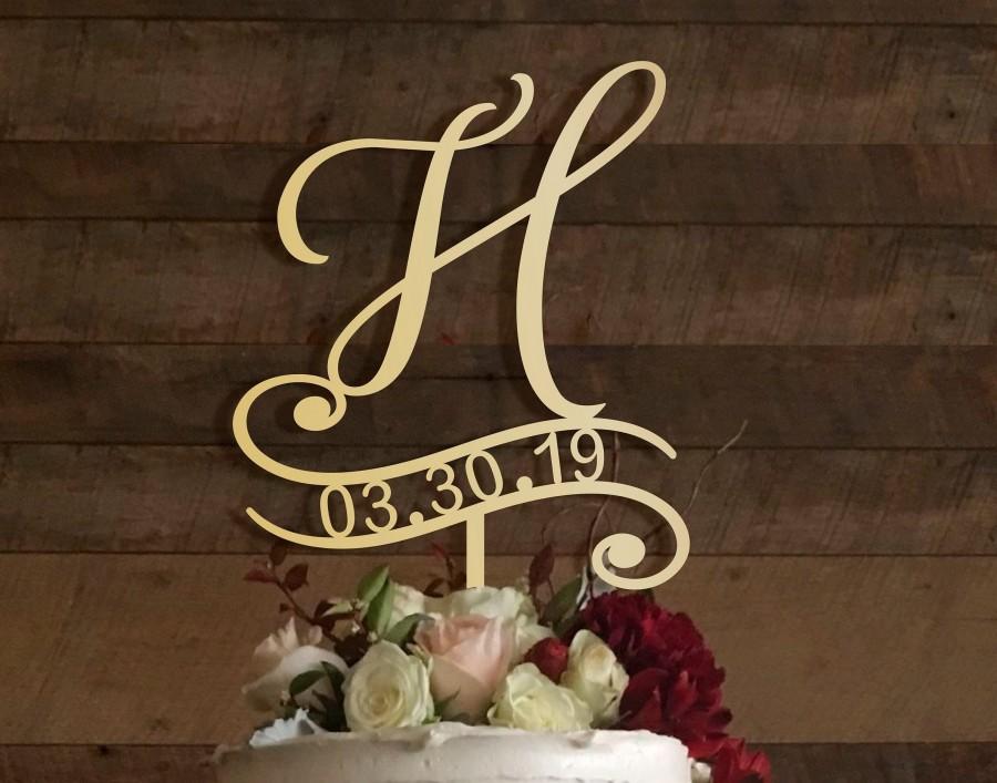 زفاف - h cake topper, wedding cake topper, cake toppers for wedding, rustic cake topper, initial cake topper, monogram cake, cake topper h, #016/1
