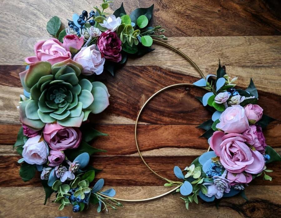 Hochzeit - Mauve Roses and Succulents Floral Hoop Wreath
