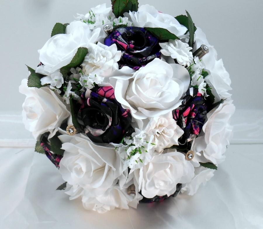 زفاف - Muddy Girl Camo White Silk Bouquet