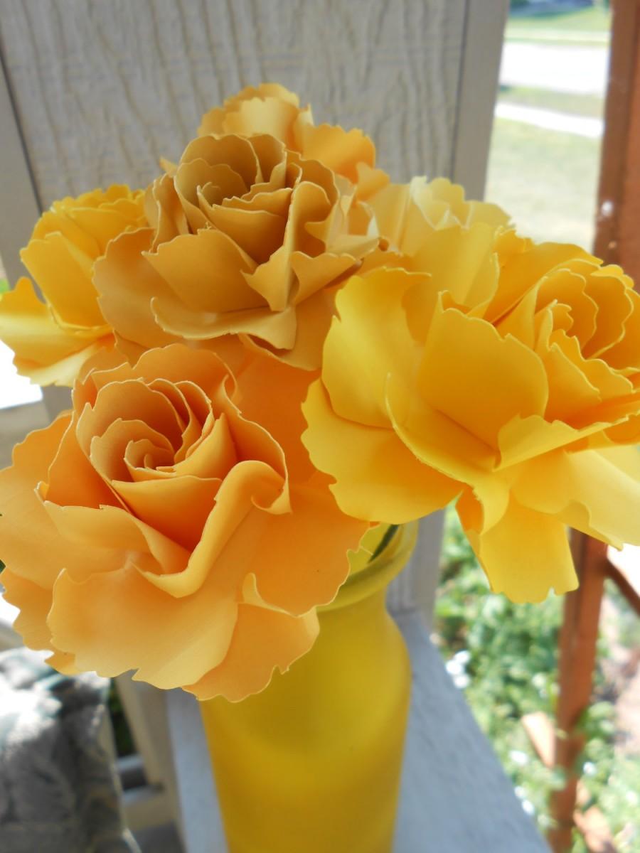 زفاف - 6 Wild Roses,  Choose Your Colors! Centerpiece, Wedding, Paper Flower Bouquet