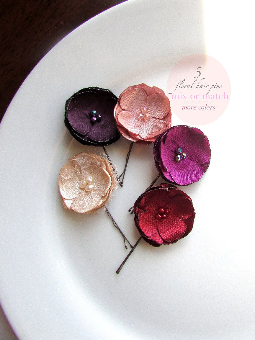 Свадьба - Pick 5 Fall Small Silk Flowers for hair Floral Fall Hair Clips, Dark Plum with Dusty Rose Blush Champagne and Red Wine Burgundy Hair Pieces