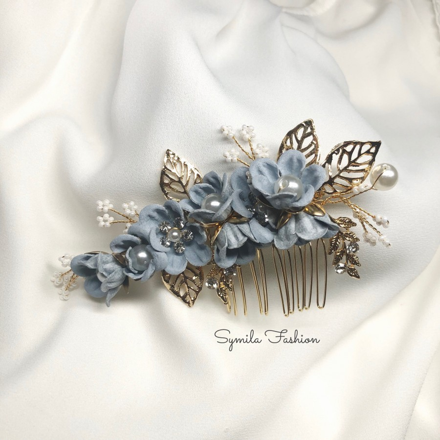 Mariage - Something Blue Bridal Hair Comb, Bridal Hair Piece, Wedding Hair Comb, Blue Flower Bridal Headpiece, Floral Hair Comb