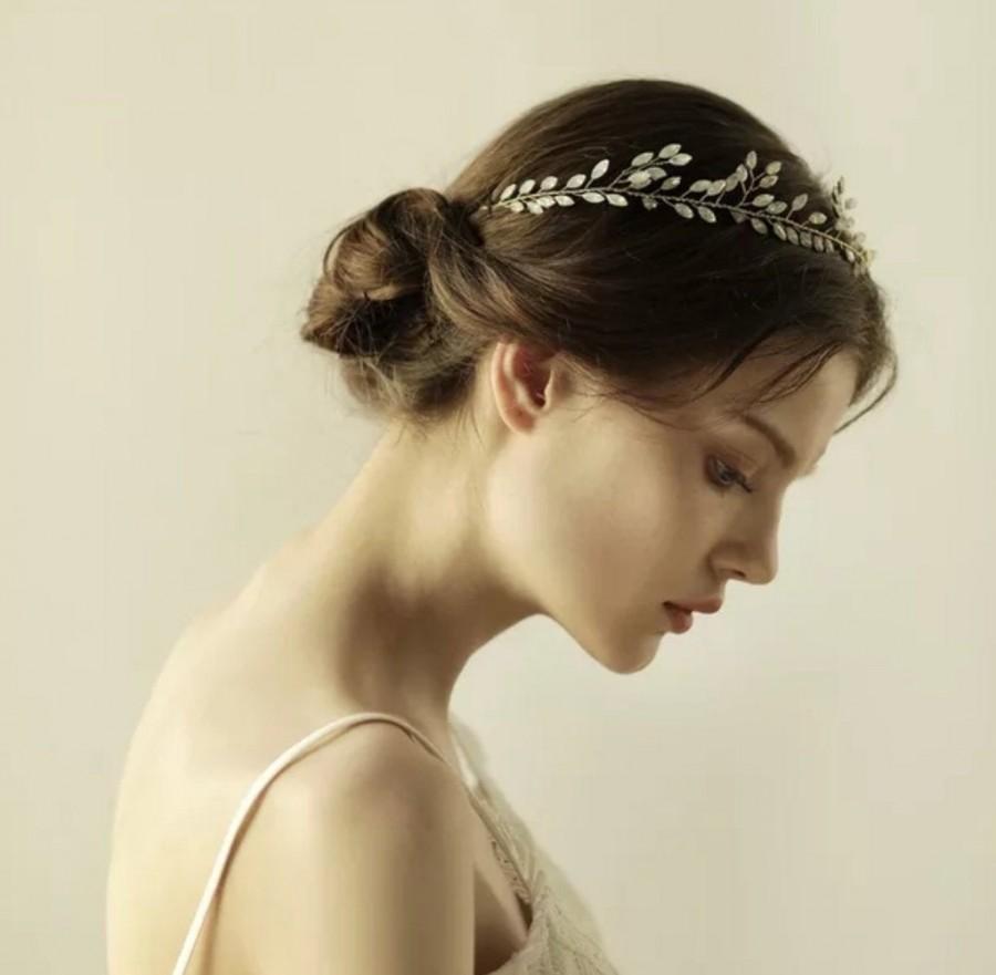 Mariage - Bohemian bridal hair vine crown crystals hair accessories wedding hair tiara wedding crown bridal tiara