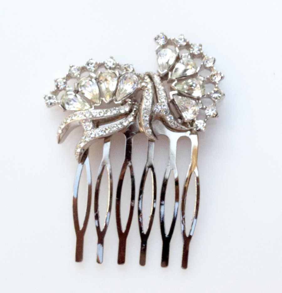 Mariage - Vintage Deco Crystal Bridal Hair Comb, Bridal Hair Comb, Limited Edition Vintage Comb,