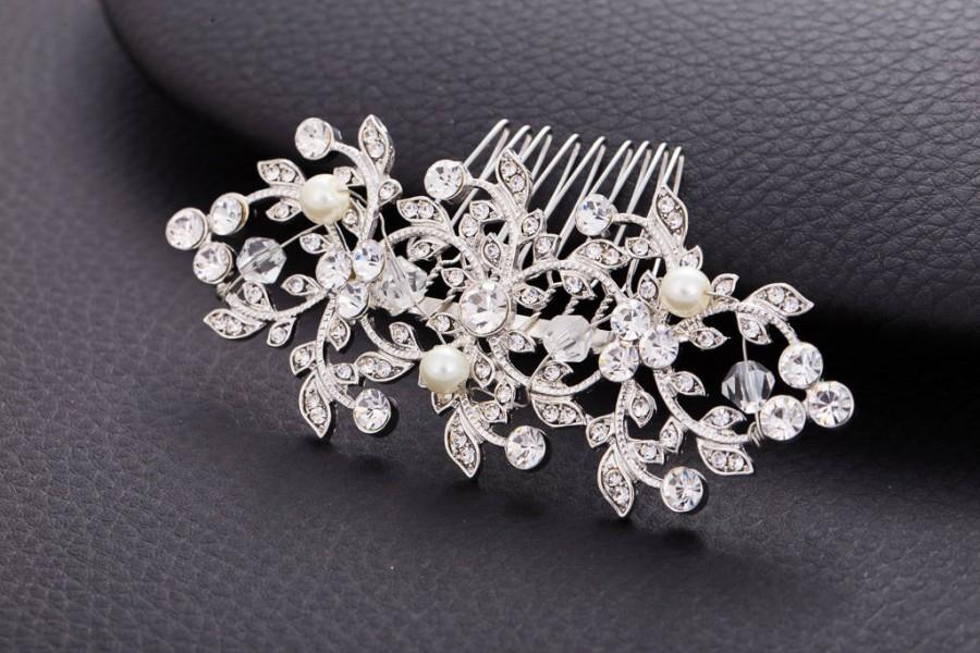 Wedding - CAMILA Crystal Pearl Wedding Hair Comb Veil Gatsby Comb Vintage Hairpiece Bridal wedding Crystal Jewelry Headpiece bridal hair accessories