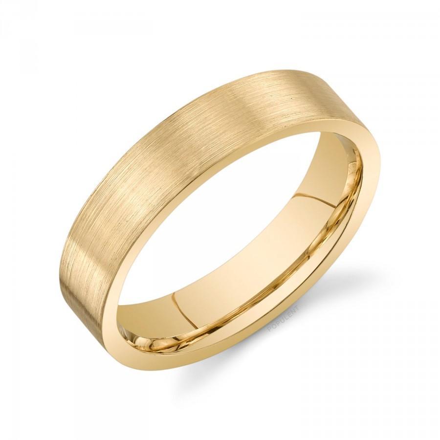 Свадьба - 14k Yellow Gold Band (5mm) / PLAIN / Matte Brushed Flat + Comfort Fit / Men's Women's Wedding Ring