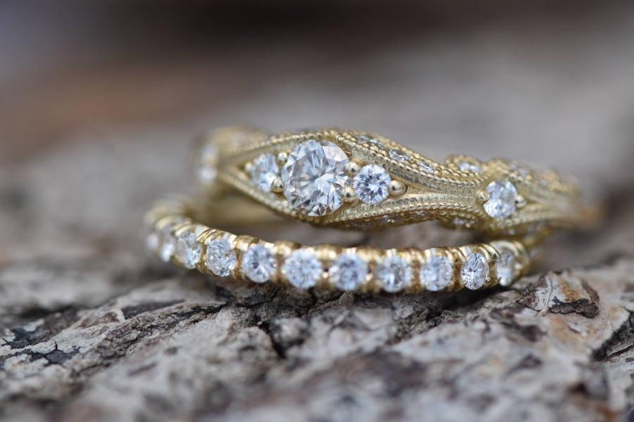 Mariage - Filigree engagement wedding set-Diamond Bridal set-Gold Ring -Promise ring-Art deco ring - Bridal Jewelry-Unique diamond ring-Vintage ring
