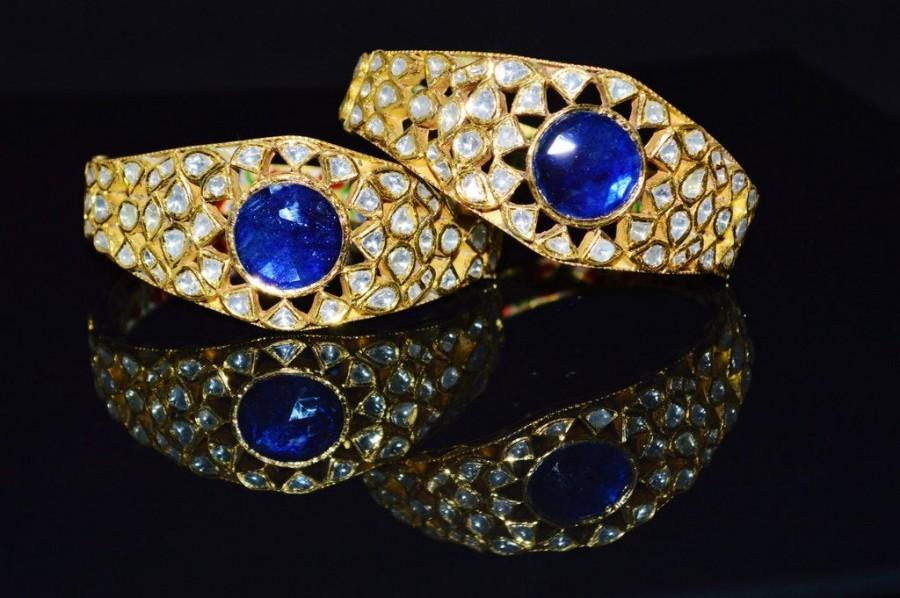 Свадьба - Sapphire Diamond Bangle - Vintage Art Deco Mogul Islamic Asian 22K 18K Solid Gold Genuine Natural Diamond Sapphire Bracelet Kada Cuff