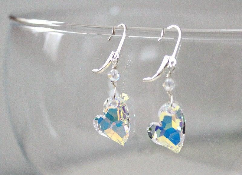 Свадьба - Clear Swarovski Heart Earrings, Gift For Girlfriend, Crystal Anniversary Gift For Wife, For Her Gifts, 15th Anniversary, Romantic Gifts