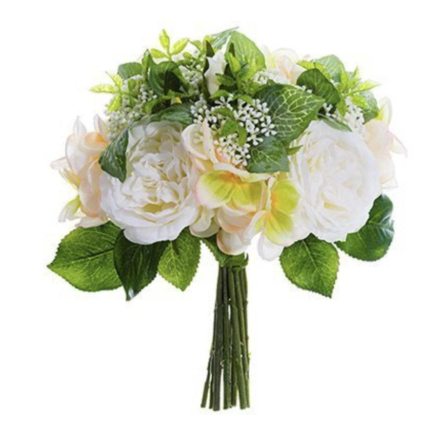 Wedding - Bridal bouquet roses and hydrangea baby breaths for brides and bridesmaids fake silk faux made to order