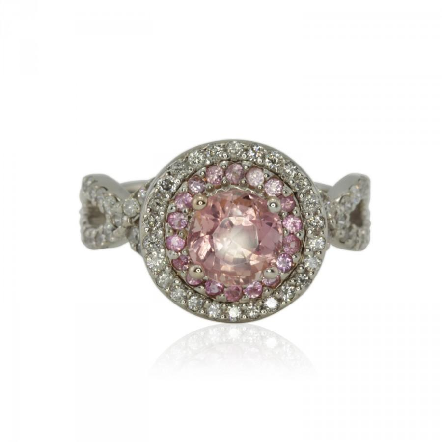 Свадьба - Pink Sapphire Engagement Ring - Peachy Pink Sapphire Ring with Pink Sapphire & Diamond Double Halo - Empress Collection - LS1340