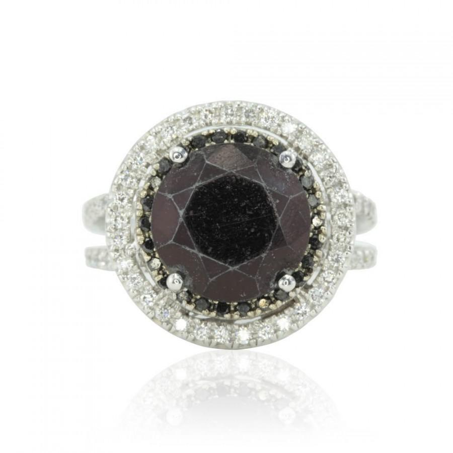 Wedding - Black Diamond Engagement Ring - 5 carats - with Black and White Diamond Double Halo - LS2657