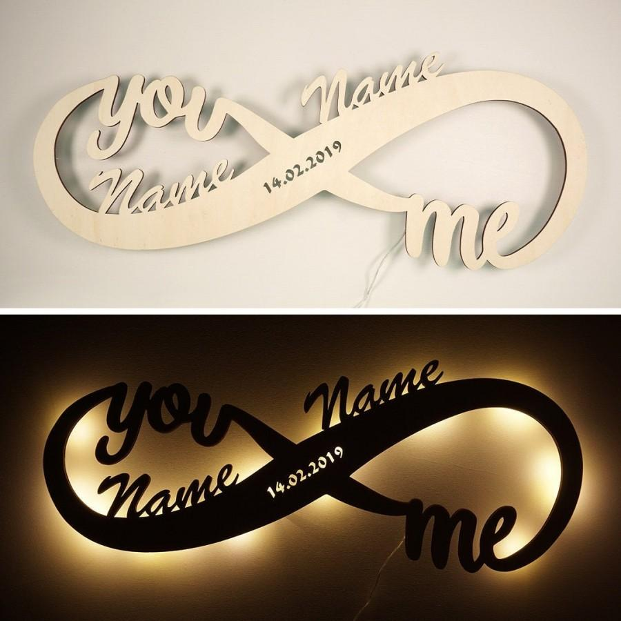 Свадьба - Infinity I Love You Decor LED Night Light Romantic Gifts for Men Wife Couples him and her Boyfriend Girlfriend Personalized for anniversary