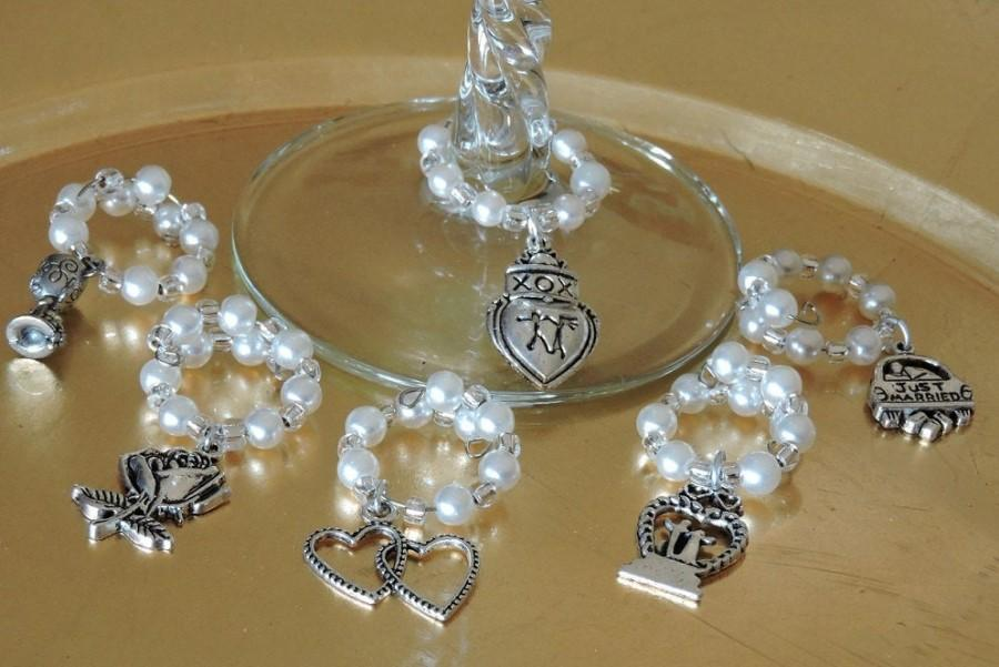 Свадьба - SALE! Wedding Pearls are Ringing!  Wine Glass Charms  - Choose your set!