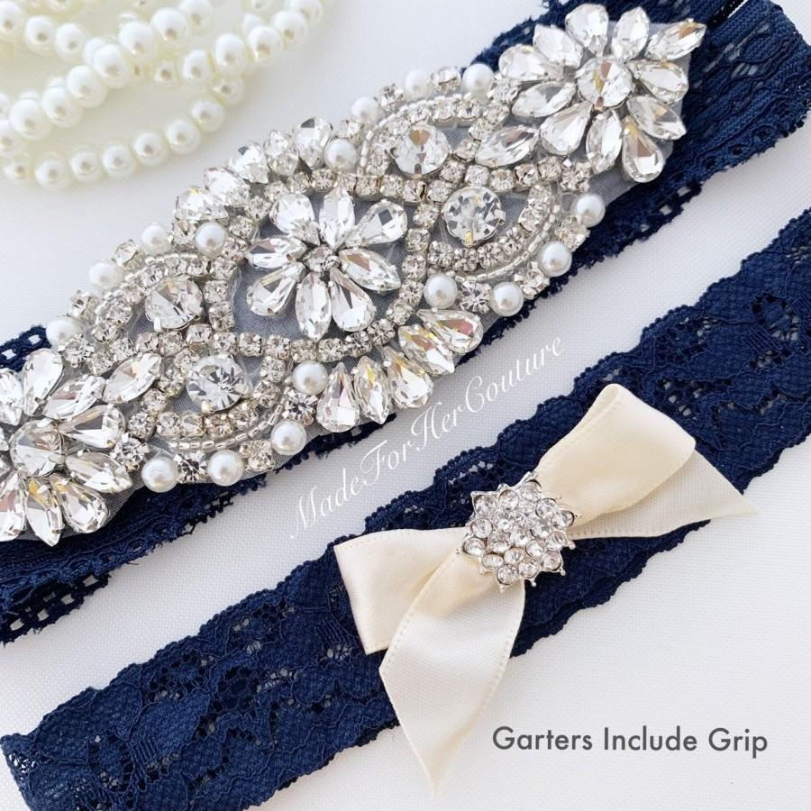 Wedding - Luxurious crystal, pearl, rhinestone wedding garter set on navy blue lace with GRIP