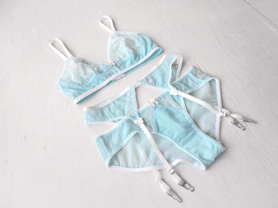 Wedding - Natalie blue mesh knickers- lace lingerie, something blue wedding bridal panties, mesh underwear undies intimates, all sizes XS S M L XL