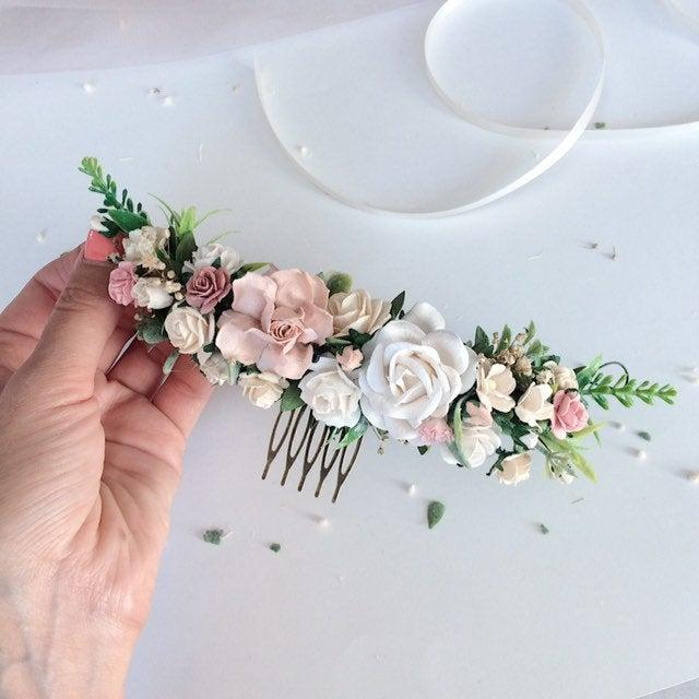 Wedding - Pale pink and white and grenery headpiece, floral hair piece, pale pink hair clip, bridal hair piece, blush pink quarter wreath, bri