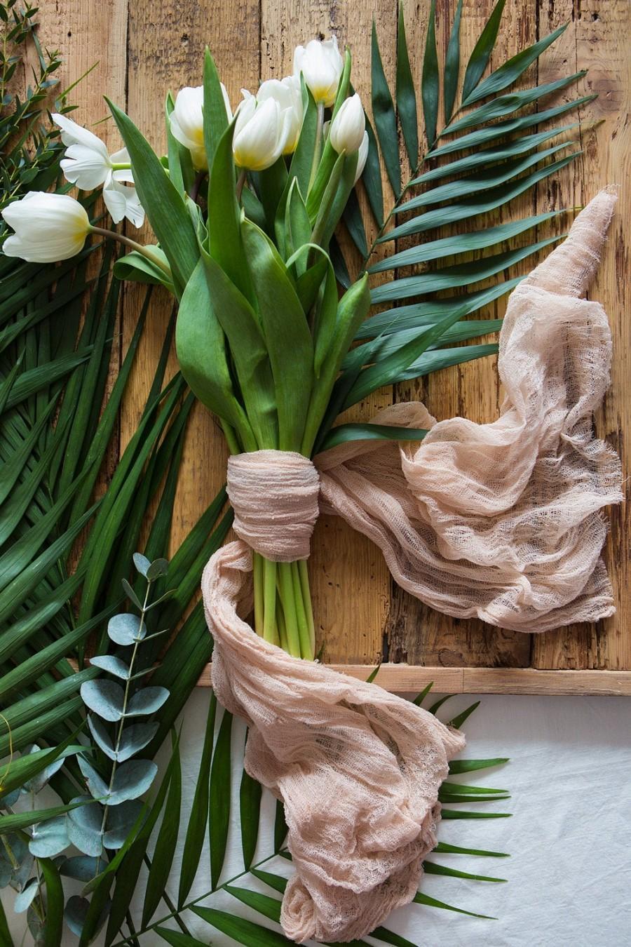 زفاف - Gauze Bridal bouquet wrap, rustic Brides bouquet, Cheesecloth cotton Scrim, Sand Bouquet Holder, Ribbon Bouquet Wrap, floristic props decor