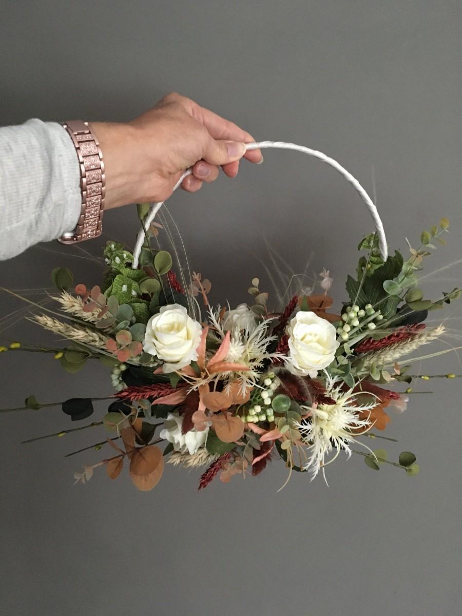 زفاف - Alternative wedding bouquet, brides hoop, bridesmaids hoop, boho hoop, wedding keepsake, woodland rustic wedding, silk hoop, dried garland