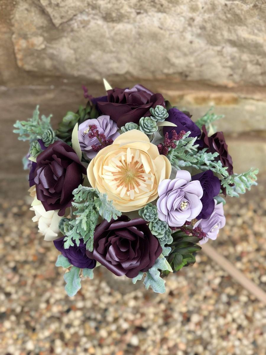 زفاف - Custom Paper Purple Succulent Paper Bridal Bouquet
