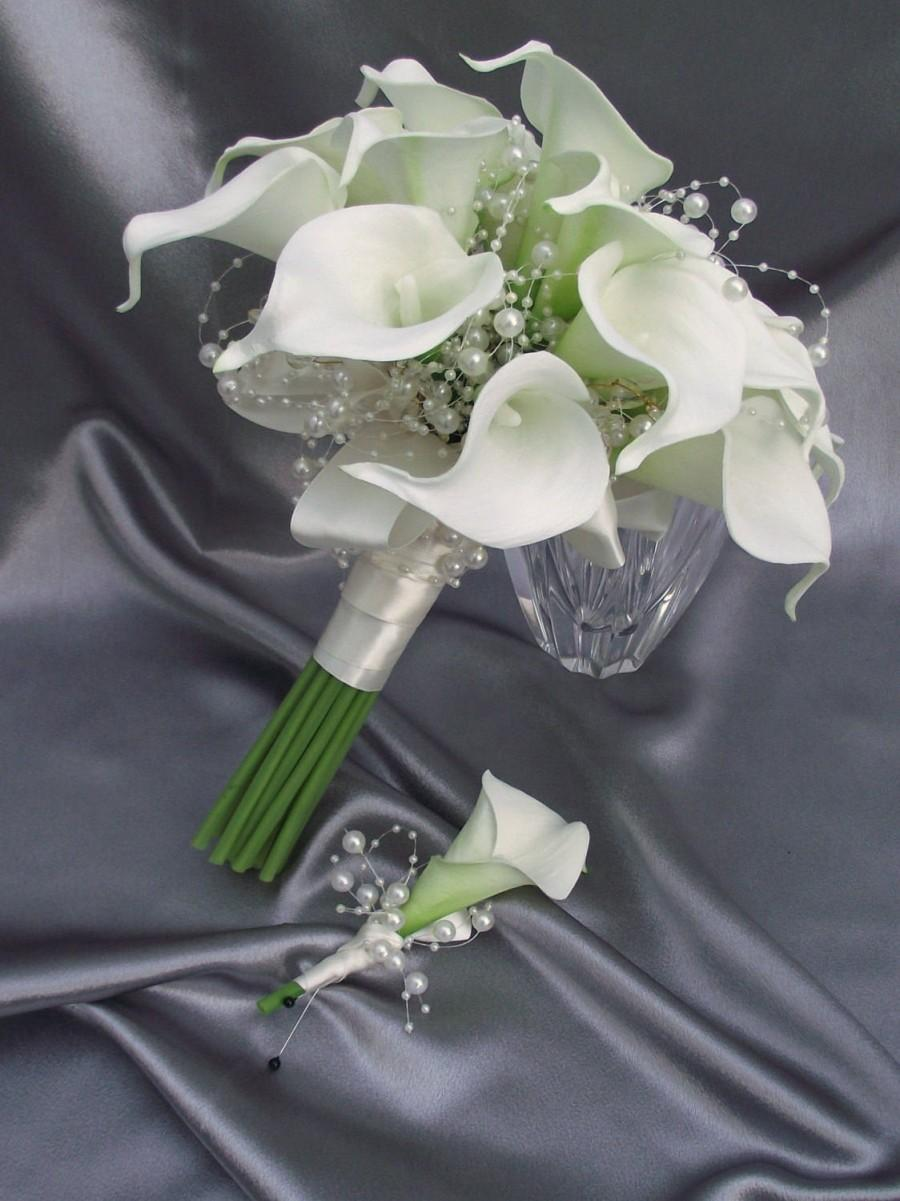 زفاف - Elegant calla lily wedding bouquet, bridal bouquet with lilies, florist made, lily and pearl bouquet, ivory wedding flowers, elegant bouquet