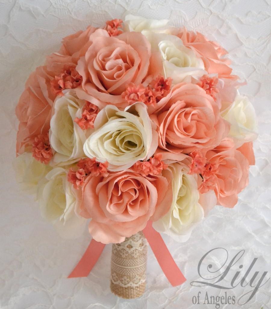 Mariage - Wedding Bouquet, Bridal Bouquet, Bridesmaid Bouquet, Silk Flower Bouquet, Wedding Flowers, 17 Pieces, Rustic, Burlap, Peach, Lily of Angeles