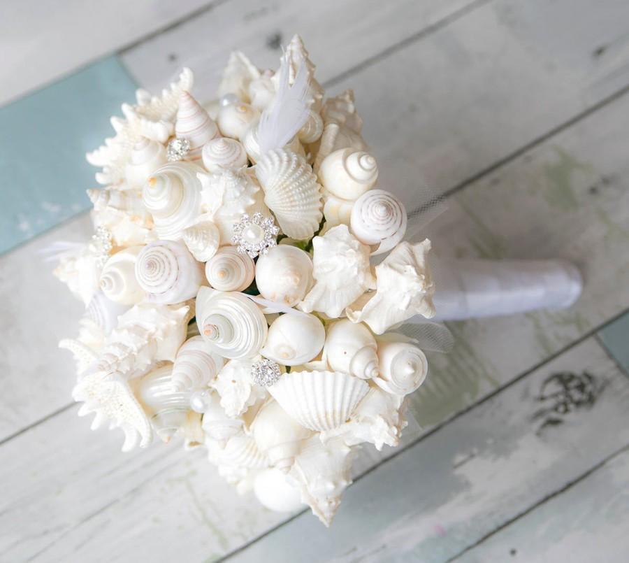 Mariage - Wedding Beach Coastal Seashell Bouquet - Starfish and Seashells Silk Wedding Flower Brida Bouquet