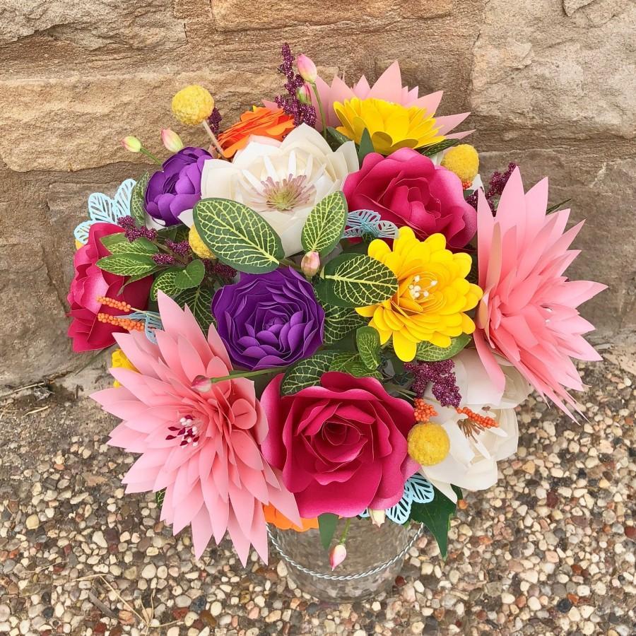 زفاف - Custom Paper Colorful Bridal Bouquet - Rainbow Colors