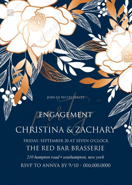Wedding - Online Editor - Peony foil gold navy blue background engagement party card wedding Invitation set PDF 5x7 in create online