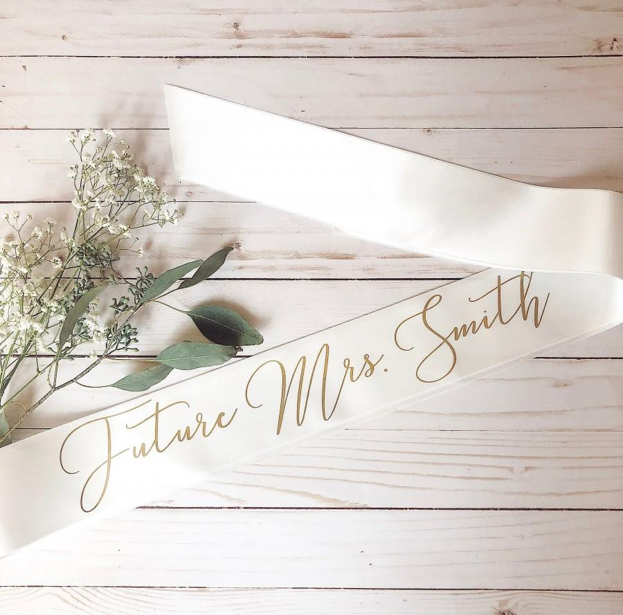 Wedding - Bride sash, Future MRS. sash, Bachelorette sash, Personalized sash, bridal shower gift