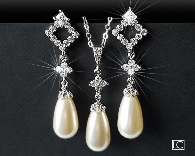 Mariage - Pearl Bridal Jewelry Set, Ivory Pearl Earrings&Necklace Set, Swarovski Teardrop Pearl Set, Wedding Bridal Jewelry, Ivory Pearl Silver Set