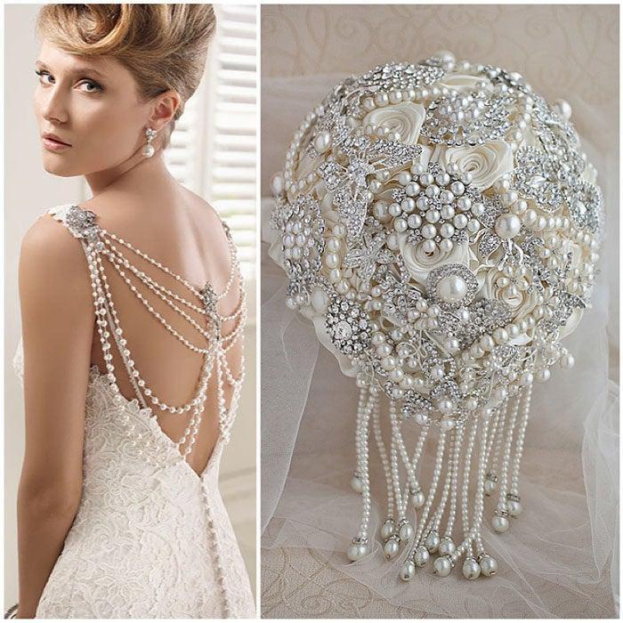 Свадьба - Cascading Pearls Brooch Buquet Ivory crystal Bridal Wedding brooch bouquet