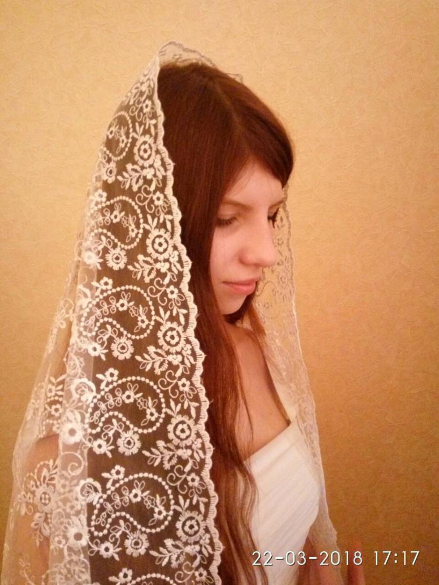 Wedding - mantilla veil lace mantilla chapel catholic mantilla cathedral veil lace veil white lace mantilla orthodox lace mantilla mothers day gift