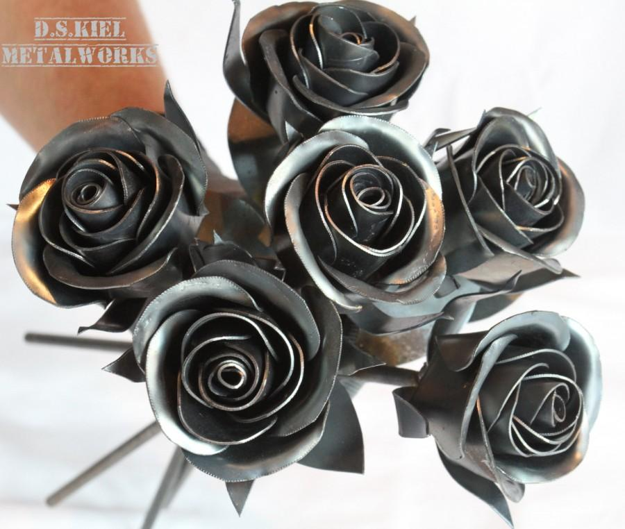 Wedding - Metal Rose Wedding Bouquet, Sweetheart Rose Bridal Bouquet, Metal Rose, Wedding Gift, Wedding Centerpiece, Metal Flowers