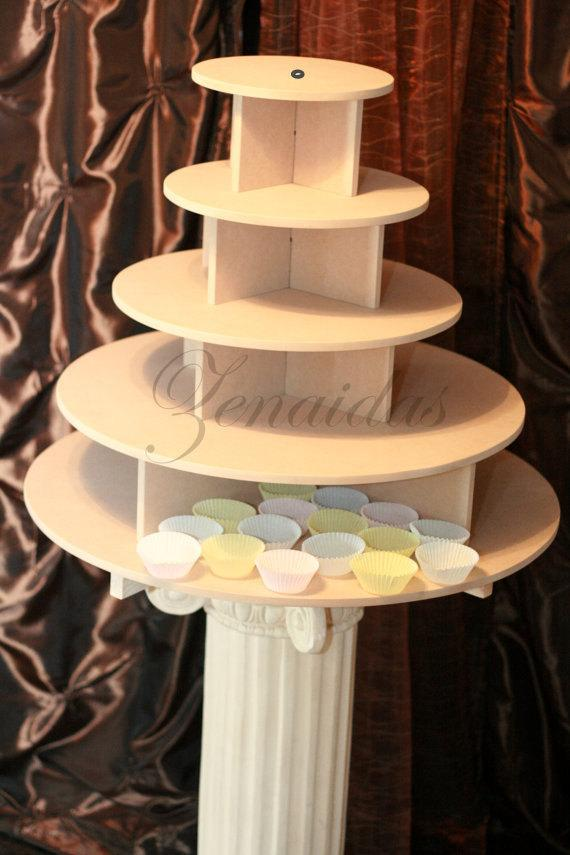 Hochzeit - Cupcake Stand Large Round 150 Cupcakes Threaded Rod and Freestanding Style MDF Wood Unpainted Cupcake Tower Display Stand Birthday Wedding