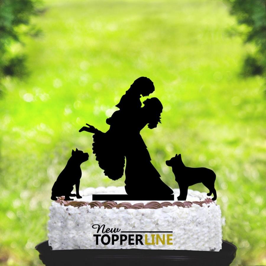 Hochzeit - Lesbian cake topper with two dogs,Lesbian with dogs,Lesbian wedding cake topper,mrs and mrs cake topper,lesbian dogs,dogs cake topper (2042)