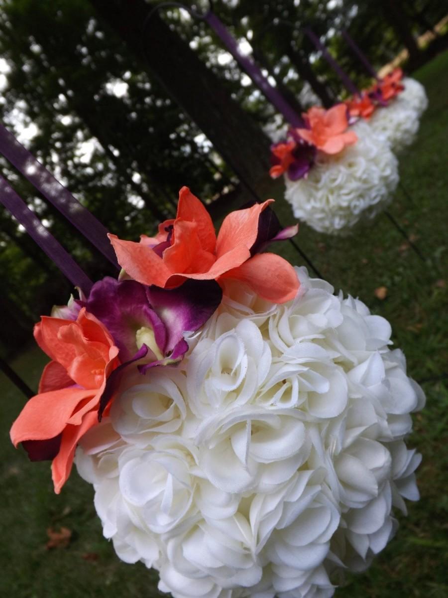 Свадьба - Design your own Petite cream white rose kissing balls/pomanders with dendrobium orchids, wedding, prom, bridesmaids, flower girls, aisle