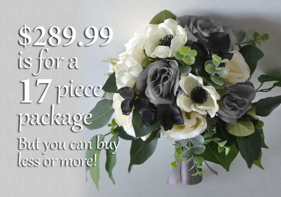 زفاف - Wedding Bouquets, Bridal Bouquets, Bridesmaid Bouquets, Silk Flower Bouquets, Wedding Flowers, gray, gray, charcoal, silver, Lily of Angeles