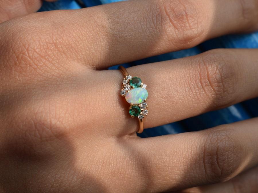 Wedding - Cluster Engagement Ring, Opal Cluster Ring, Emerald Cluster Ring, Diamond Cluster Ring, Unique Engagement cluster ring, Multi stone ring